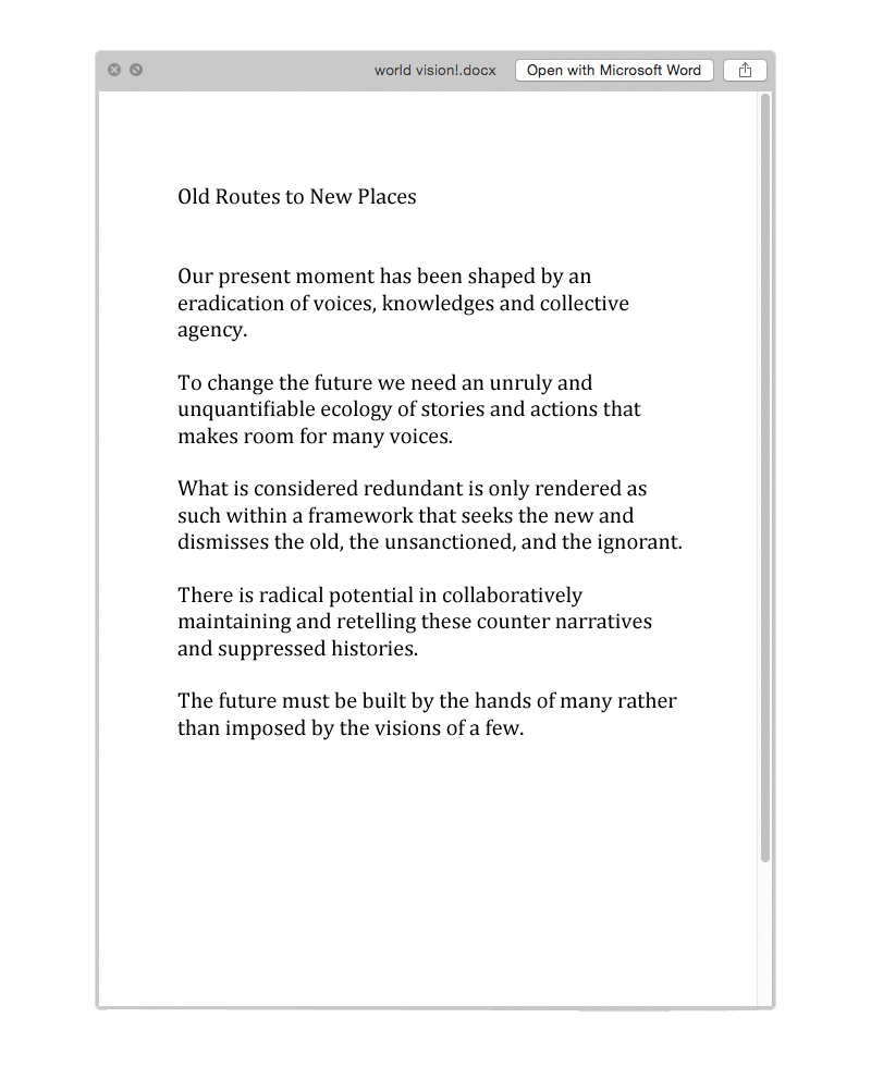 Nathalie Boobis' note for Notes For A New World Order, 2017